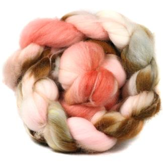 Tea Roses (pink) 4 oz superwash merino braid